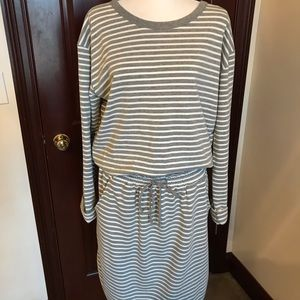 Grey & White Striped Cotton Dress. Sz. XL